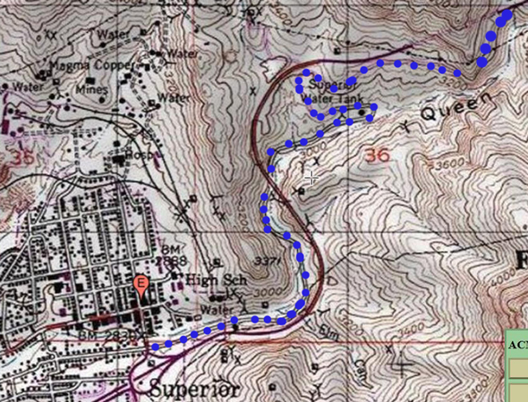 In The Late 1940 S And Early 1950 S The Queen Creek Canyon Section Of The Highway Was Re Routed The Map Shows The Original Road Highlighted In Blue And The